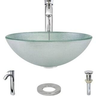 "Rene by Elkay R5-5034-R9-7006 Rene 16-1/2"" Glass Vessel Bathroom Sink with Vesse"