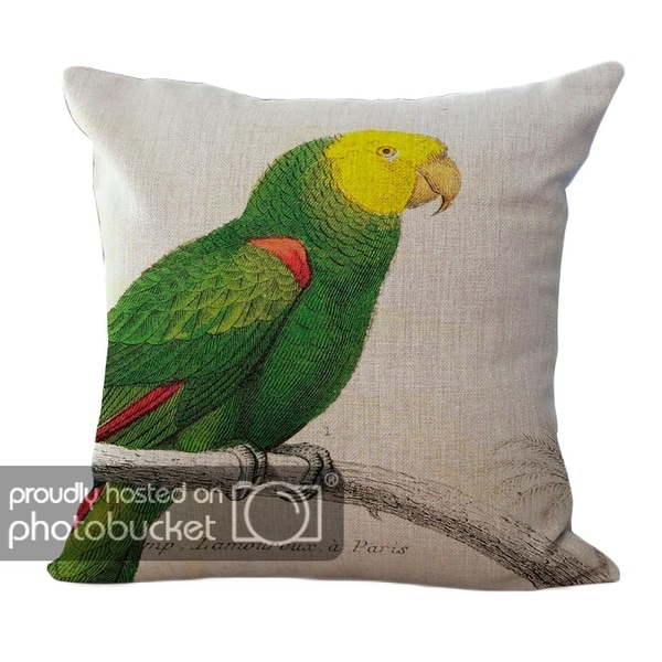 ChezMax Country Parrot Pattern Cushion Cotton Linen Square Decorative Throw Pillow 18 X 18''