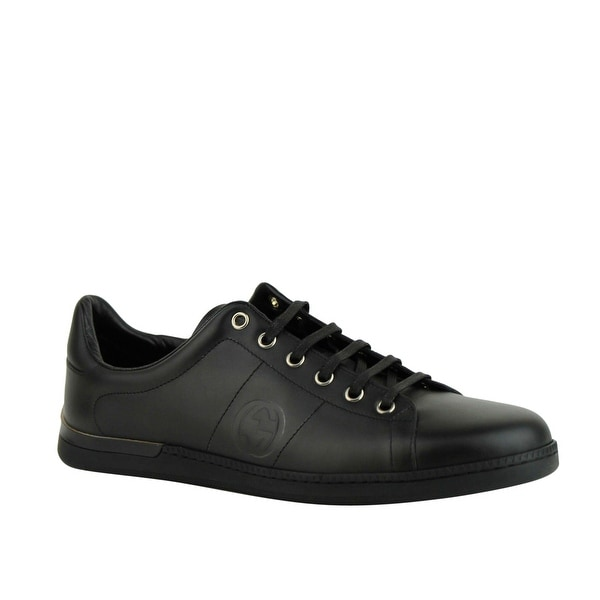 Shop Gucci Women\u0027s Black Leather Sneaker with Interlocking G