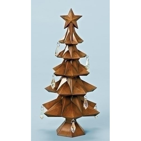 "11"" Faux Wood Tree with Star and Jewels Table Top Christmas Decoration - brown"