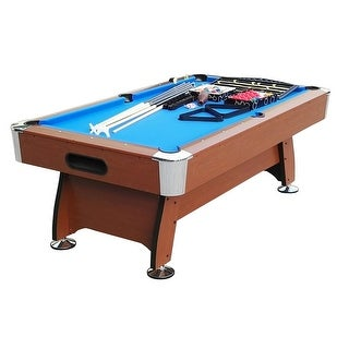 7' x 3.98' Brown and Blue Deluxe Billiard Pool and Snooker Game Table