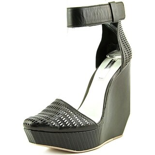 BCBG Max Azria Austin Women  Open Toe Leather Black Wedge Sandal