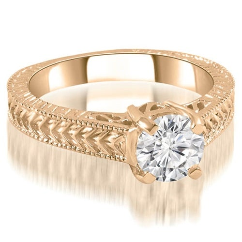 1.00 cttw. 14K Rose Gold Antique Style Solitaire Diamond Engagement Ring