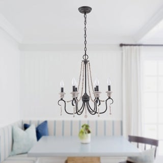 Link to Modern Farmhouse Black 6-Light Wood Beaded Chandelier Similar Items in Chandeliers