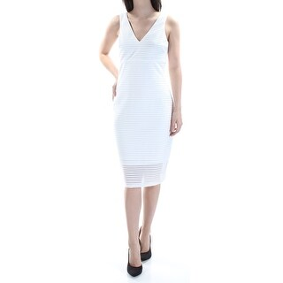 Womens White Striped Sleeveless Below The Knee Cocktail Dress Size: 4