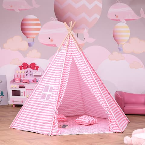 """Qaba Kids Teepee Play Tent Portable Toy with Mat Pillow Carry Case Indoor Outdoor 79"""" x 79"""" x 67"""", Pink"""