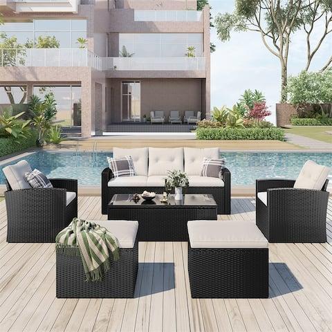 Leisure Zone 6-piece Wicker PE rattan Patio Outdoor Dining Conversation Sectional Set