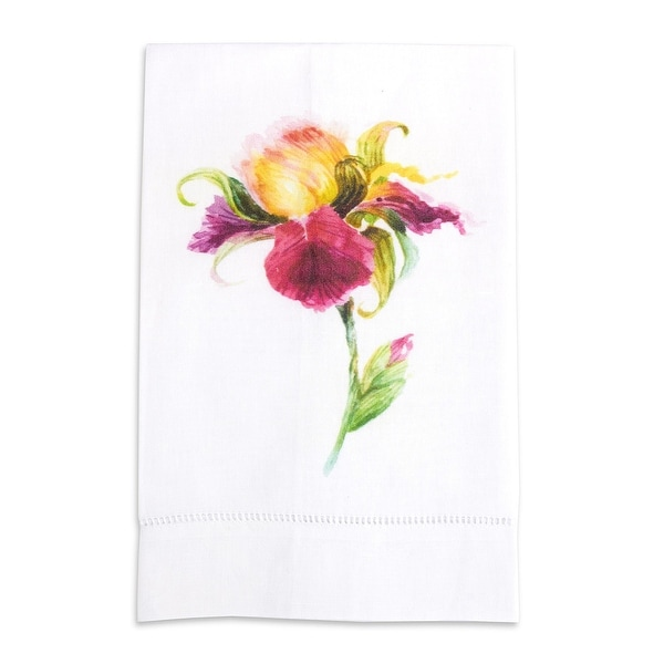 Watercolored Iris Printed Linen Tea Towel Pink Flower