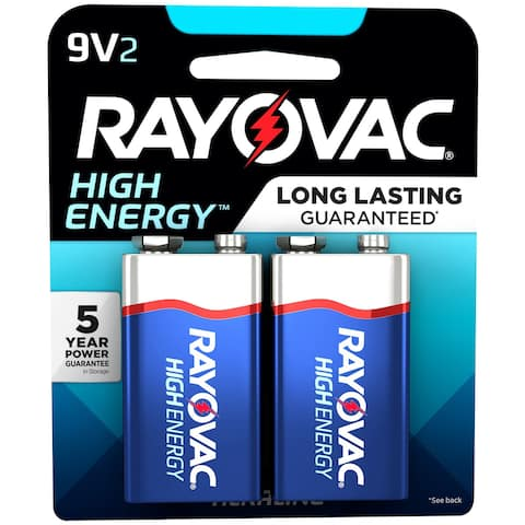 Rayovac High Energy Alkaline Batteries 2/Pkg-9V