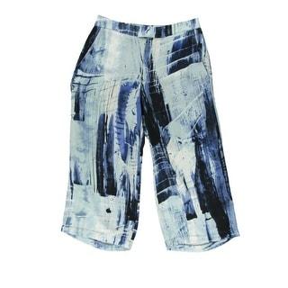 Aqua Womens Chiffon Printed Capri Pants - XS