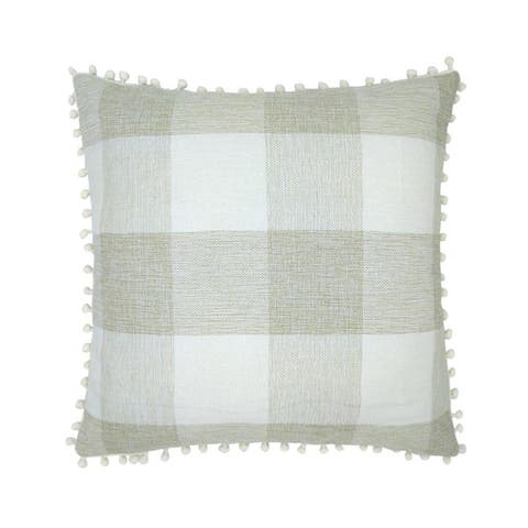 "AIRI 18"" x 18"" Buffalo Plaid Pom Poms Decor Pillowcovers"