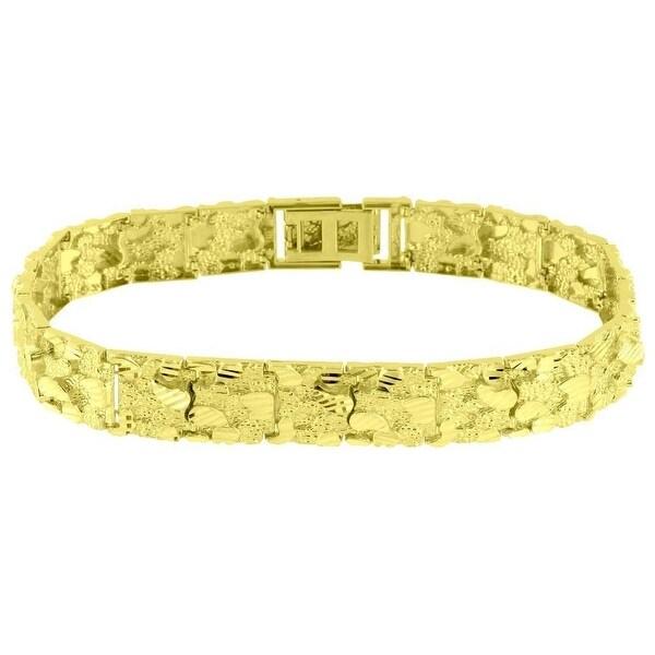 10k Yellow Gold Nugget Design Bracelet Mens High End 12mm Luxury 12mm