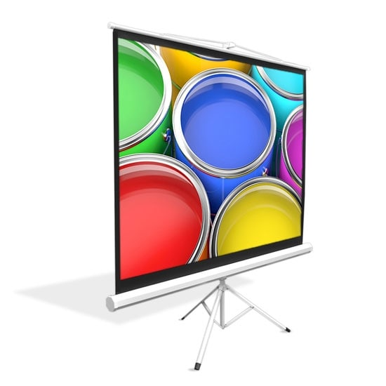 Universal 84-Inch Floor Standing Portable Fold-Out Roll-Up Tripod Manual Projector Screen (50.0'' x 66.9'') Matte White Surface