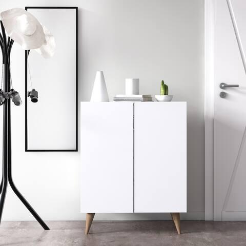 """Forte Mid-century Modern Shoe Storage Cabinet - 28""""x15""""x35"""""""