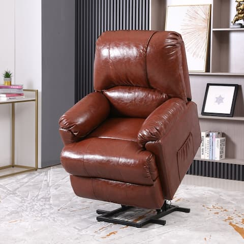 Kerrogee Power Lift Faux Leather Massage Recliner Sofa with Heat - Swivel and Remote