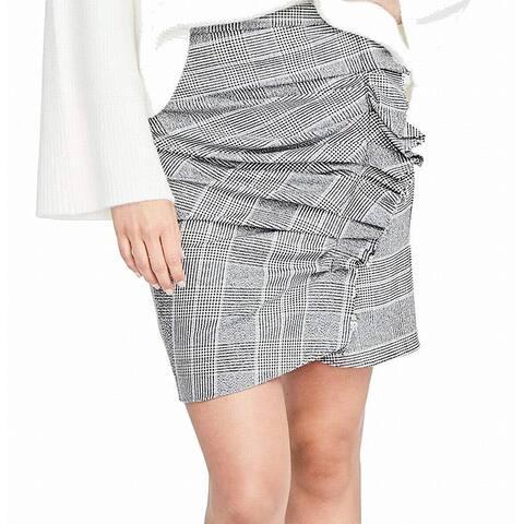 Rachel Roy Women's Houndstooth Ruffle Knit Skirt (Black, 10) - 10