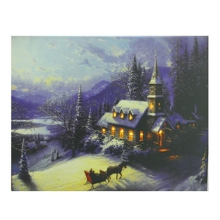 """LED Lighted Church in Wintry Woods Canvas Wall Art 15.75"""" x 19.75"""" - N/A"""