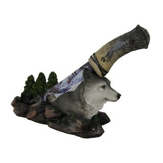 Spirit Wolf Decorative Fantasy Knife With Hand Painted Holder - Multicolored
