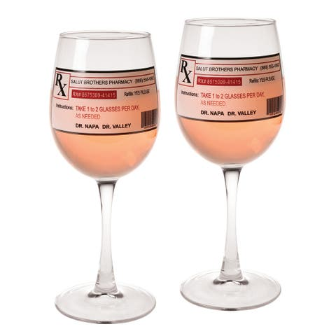 Lasting Impressions Prescription Wine Glasses - Set of 2 Wine Stems with Novelty Prescription Labels