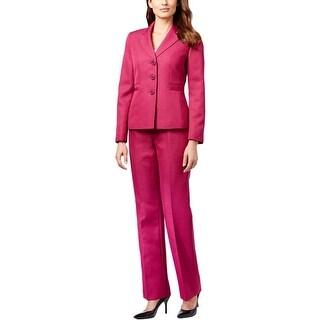 Le Suit Womens Quebec Pant Suit Herringbone Notch Collar