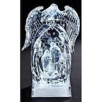 "8.5"" Icy Crystal LED Lighted Angel and Nativity Stable Christmas Table Top Decoration - CLEAR"