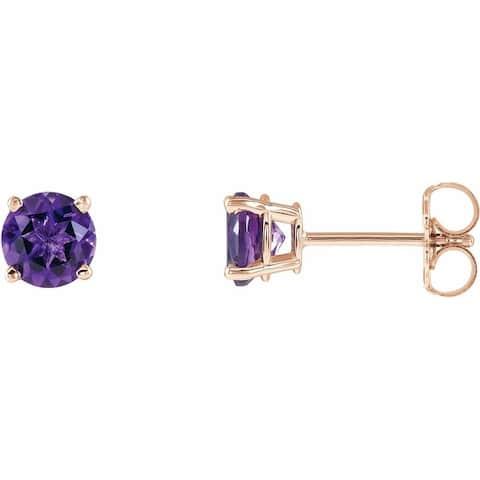 14K Rose Gold 5 mm Round Amethyst Earrings for Women