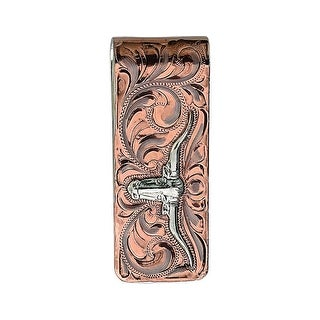 Bar V Ranch Western Mens Money Clip Engraved Longhorn Silver 321-199