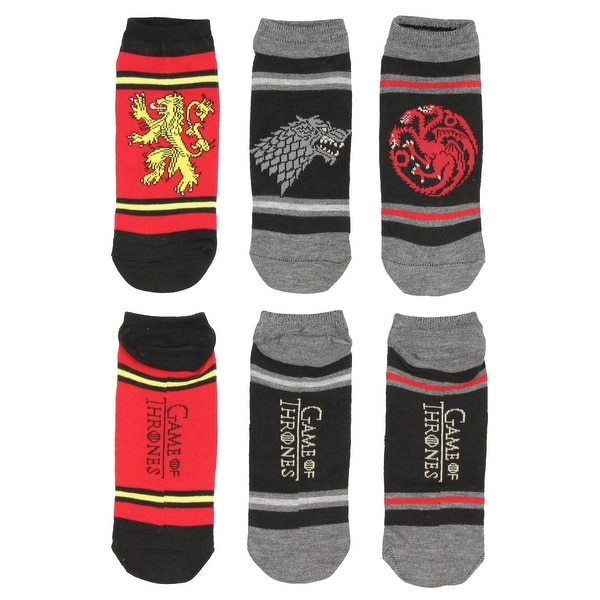 Game of Thrones Socks Great House Sigil Banner Adult Ankle 3 Pair Pack