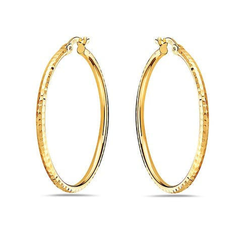 Pori 14K Yellow Gold Diamond Cut Hammered Hoop Earrings