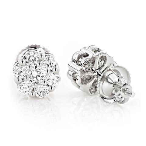 Cluster Round Diamond Stud Earrings 1.27ctw in Sterling Silver by Luxurman