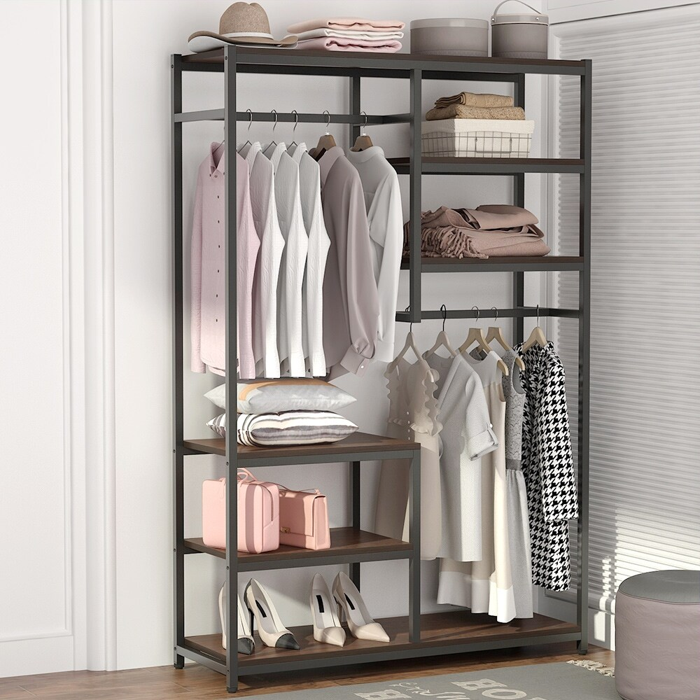 Free Standing Closet Organizer Double Hanging Rod Clothes