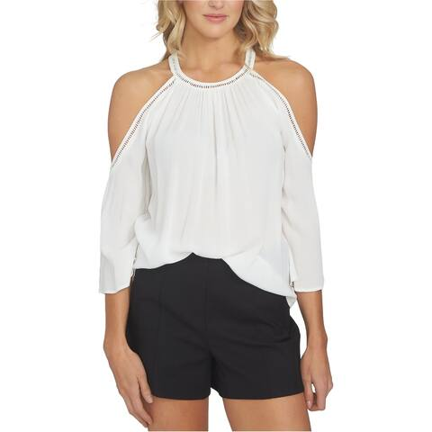 1.STATE Womens Cold Shoulder Knit Blouse, white, Medium