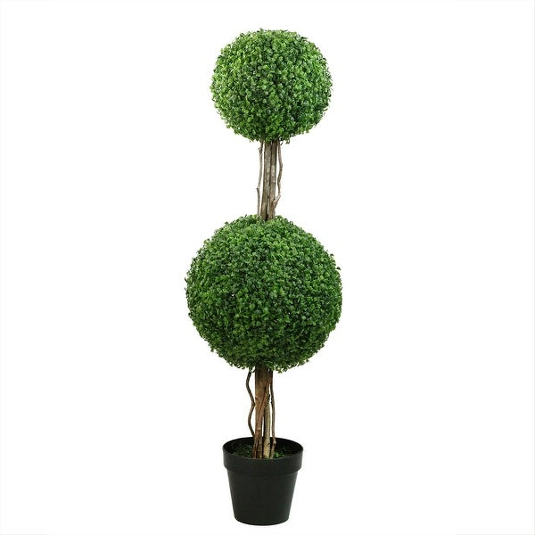 4' Potted Two Tone Green Double Ball Boxwood Topiary Artificial Garden Tree - Unlit - N/A
