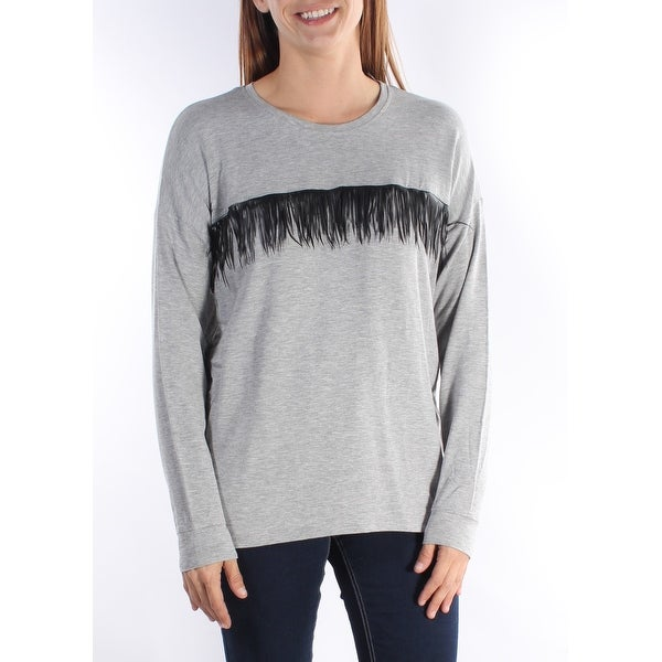 adfe6f0432 Shop KENSIE Womens Gray Fringed Long Sleeve Scoop Neck Top Size  S - Free  Shipping On Orders Over  45 - Overstock.com - 21238881