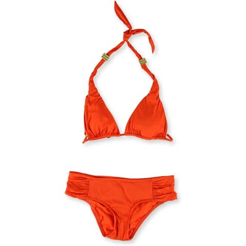 bar III Womens Triangle Side Tab 2 Piece Bikini, Orange, Small