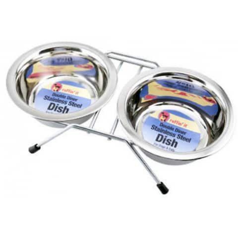 Ruffin' It 19416 Double Diner Pet Bowl, 16 Oz, Stainless Steel