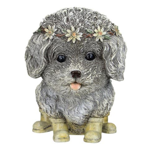 """9"""" Brown and Cream Outdoor Pudgy Dog in Rain Boots Garden Statue"""