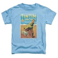Tintin-Tintin & Snowy Short Sleeve Toddler Tee, Carolina Blue -
