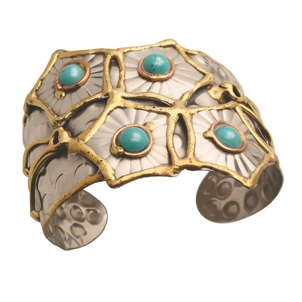 "Women's Turquoise Starbursts Metal Cuff Bracelet - 2"" Wide - Adjustable"