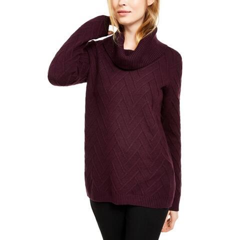 Calvin Klein Womens Pullover Sweater Chevron Stitch Cowl Neck