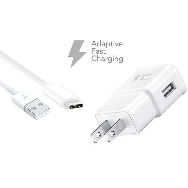 Samsung Fast Charger for Galaxy S8 / Galaxy S8 Plus, EP-TA20JWE and USB TYPE C Cable EP-DN930CWE (WHITE)
