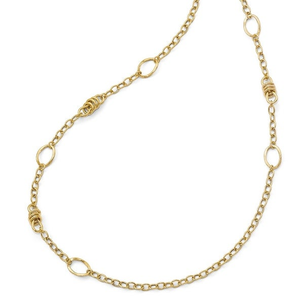 Italian 14k Gold Polished Fancy Link Necklace - 32 inches