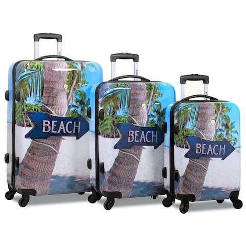 Beach 3-Piece Hardside Lightweight Spinner Luggage Set