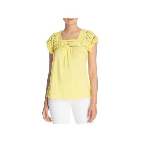 Cupio Womens T-Shirt Tassel-Sleeve Square-Neck