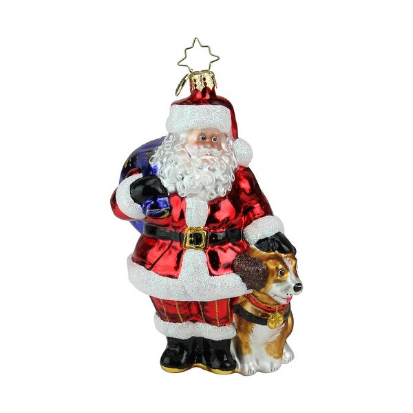 "6"" Christopher Radko ""Ready to Serve"" Glittered Glass Christmas Tree Ornament #1018980 - RED"