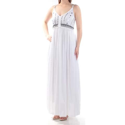 e57bc521c4a CATHERINE MALANDRINO Womens White Spaghetti Strap V Neck Maxi Empire Waist  Dress Size  S