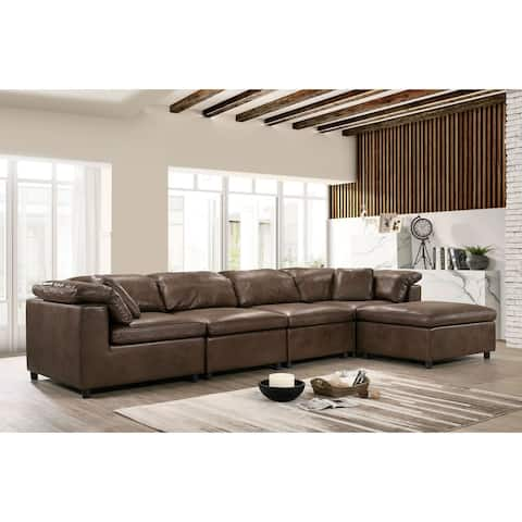 Furniture of America Keats Contemporary Faux Leather Brown 5-Piece Sectional