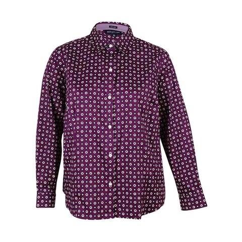 Jones New York Women's Easy Care Shirt - plum wine combo