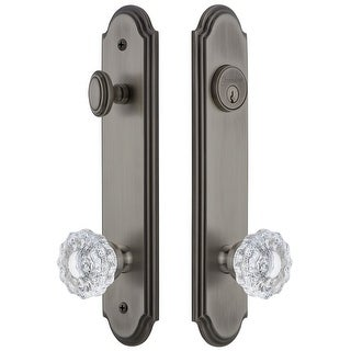 """Grandeur ARCVER_TP_ESET_238  Arc Solid Brass Tall Plate Single Cylinder Keyed Entry Set with Versailles Crystal Knob and 2-3/8"""""""