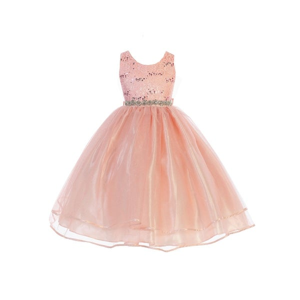 23594df217be Shop Girls Blush Sequin Lace Sparkly Mesh Junior Bridesmaid Dress - Free  Shipping Today - Overstock.com - 23542216